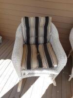 Wicker rocker w cushions