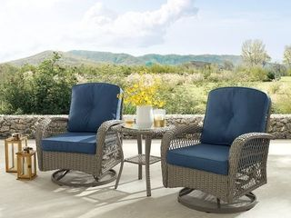 Corvus livorno Outdoor Wicker Chat Set w  Swivel Chairs  COMPlETE SET