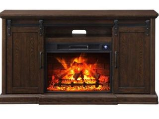 Febo Flame Walnut Infrared Quartz Electric Fireplace