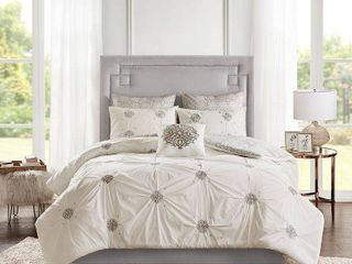 Madison Park Edna Embroidered Cotton Reversible Comforter Set Full Queen Size