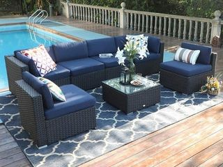 PIECE OF Havenside Home Gariau Outdoor Patio Rattan Sectional Sofa Set