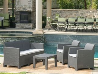 Jacksonville Outdoor Wicker Cushioned Chat Set by CKH  COMPlETE ITEM