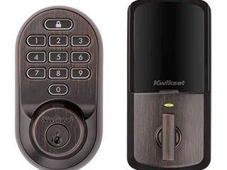 Kwikset 99380 002 Halo Wi Fi Smart lock Keyless Entry Electronic Keypad Deadbolt Featuring SmartKey Security  Venetian Bronze