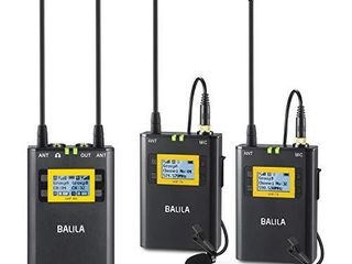 BAlIlA UHF 100 channel Wireless lavalier Microphone System for DSlR Mirrorless Camera Camcorder Smartphone Professional Wireless lapel Microphone System for Interview YouTube Video Recording ENG EFP