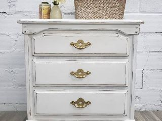 White Gold 3 Drawer Side Table