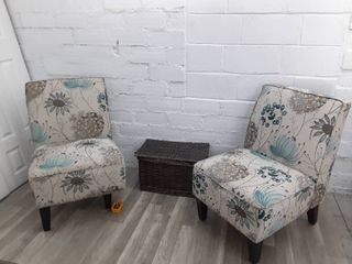 Two Floral Accent Chairs