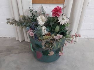 Artificial Flowers and large Vase
