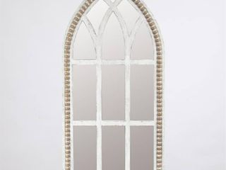 White Rustic Wood Cathedral Wall Mirror