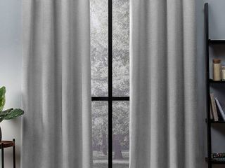 ATI Home Oxford Sateen Woven Blackout Grommet Top Curtain Panel Pair