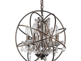Antique Bronze 4 light Globe Sphere Orb Cage Chandelier with Crystals  Retail 171 99