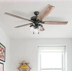 The Gray Barn Manderston 60 inch Coastal Indoor lED Ceiling Fan with Pull Chains 5 Reversible Blades   60