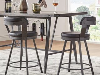iNSPIRE Q Harley Faux leatr and Metal Swivel Stools  Set of 2  by Modern