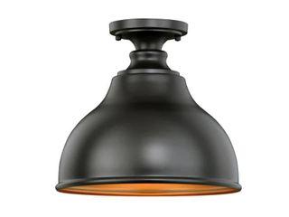 Delano Farmhouse Barn Bronze Semi Flush Mount Ceiling light   11 in W x 10 in H x 11 in D  Retail 120 00