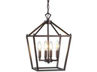 Pagoda 12  4 Bulb lantern Metal lED Pendant  Oil Rubbed Bronze by JONATHAN Y  Retail 107 99