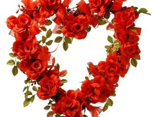 Set of 2 Valentine Heart Synthetic Rose 16 inch Wreath