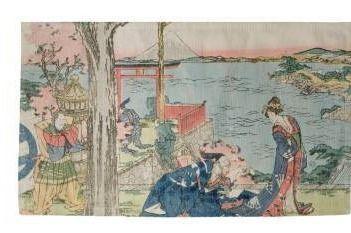 Porch   Den Katsushika Hokusai  Japanese Courtesan  Dobby Rug  Retail 97 99