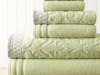Mix Jacquard Border 6 Piece Bath Towel Set  Sage