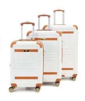 19V69 ITAlIA Vintage Hard Expandable Spinner luggage Set  3 Piece    White