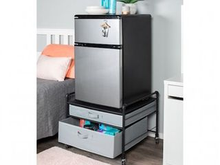 Fridge Stand Supreme   Black Pipe Frame with light Gray Drawers   23 2 W x 22 D x 21 3 H  Retail 122 99