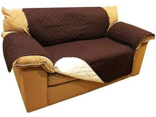 AlEKO 2 Seater Sofa Slipcover Brown Spill Scratch Pet Protection 88 x 70 in   loveseat