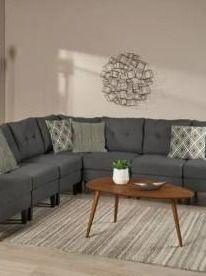 Incomplete Emmie Mid Century Dark Gray Sectional Pieces