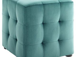 Contour Cube Velvet Ottoman Teal   Modway
