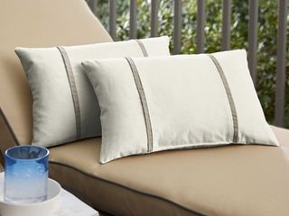 Humble   Haute Sunbrella Canvas Natural and Canvas Taupe Double Small Flange Indoor  Outdoor Pillows  Set of 2