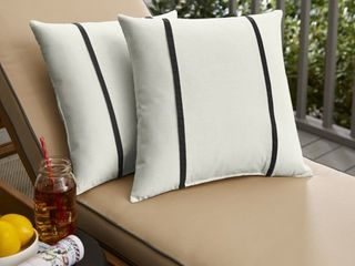 Sunbrella Canvas Natural and Canvas Black Double Small Flange Indoor  Outdoor Pillows  Set of 2  Retail 76 48