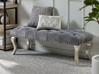 Decor Maxem Tufted Faux leather Upholstered Seat with Nailhead Trim Bench  Retail 153 99