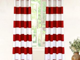 DriftAway Mia Stripe lined Blackout Thermal Insulated Window Curtain Grommet 2 layers 2 Panels Each 52 Inch by 84 Inch Red