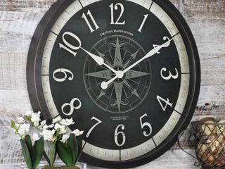 FirsTime   Co  Compass Rose Wall Clock  American Crafted  Oil Rubbed Bronze  Plastic  24 x 2 x 24 in   24 x 2 x 24 in