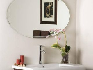 Oval v grooved Framed Mirror   Clear  Retail 157 49