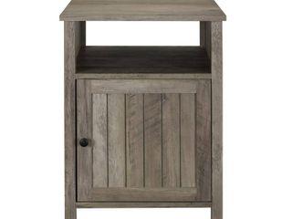 18  Grooved Door Side Table   Grey Wash
