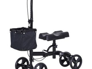 Foldable Dual Pad Steerable leg Knee Walker Scooter with Basket Attachment   16 75 l x 32 W x 41 25 H  Retail 177 99