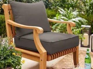 Sunbrella Charcoal Gray 2 piece Cushion and Pillow Indoor Outdoor Set   Retail 142 49