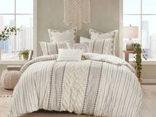 The Curated Nomad Clementina Cotton Printed Chenille Comforter Set   Ivory   Full   Queen