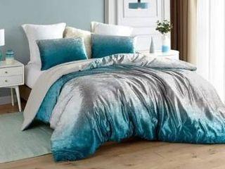 Coma Inducer Oversized Oversized Comforter   Ombre Velvet Crush   Ocean Depths Teal Silver Gray  Retail 154 63