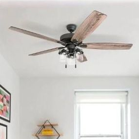 60   Bronze   Hardwired  The Gray Barn Manderston 60 inch Coastal Indoor lED Ceiling Fan with Pull Chains