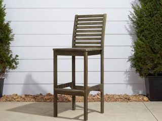 Vifah Renaissance Outdoor Hand scraped Bar Chair   Gray