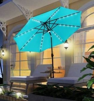 Ainfox 10Ft Outdoor Patio Solar Powered Aluminum Umbrella with 40 lED lights 8 Sturdy Ribs