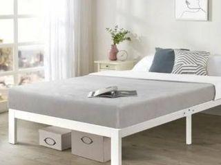 Queen Size Bed Frame Heavy Duty Steel Slats Platform Series Titan C  White   Crown Comfort  Retail 169 99