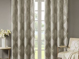 Set of 3 Abel Ogee Knitted Jacquard Total Blackout Curtain Panel by SunSmart