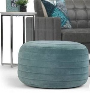 The Curated Nomad Holladay Round Pouf in Turquoise Velvet  Retail 116 49