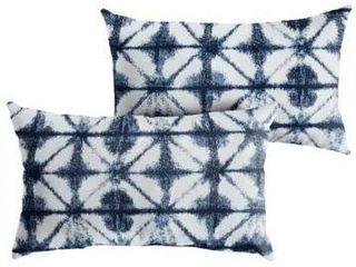 Sunbrella Indigo Geometric Indoor  Outdoor Xl lumbar Pillow  Set of 2   13 x 20