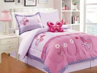 little Adrien  butterfly 4pc Printed Comforter Set  Size Twin
