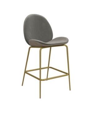 Set of 2 Astor Velvet Upholstered Counter Height Barstool Gray   Cosmoliving by Cosmopolitan