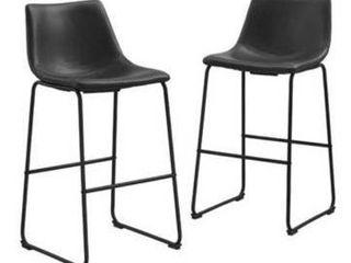 Carbon loft Prusiner Faux leather Bar Stool  Set of 2    Black  Retail 176 99