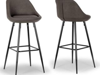 Set of 2 Aldis Brown Faux leather Barstool with Black Metal legs and Decorative Zipper  Retail 189 99