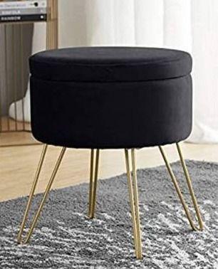 Black  Round Velvet Storage Ottoman with Gold Metal legs   Tray Top Table  Retail 77 48