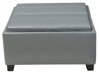 Mansfield Faux leather Tray Top Storage Ottoman by Christopher Knight Home  Retail 246 16